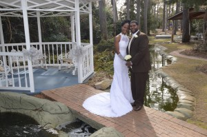 Teresa and Philip Oden renewed their wedding vows in the gazebo at a garden wedding ceremony