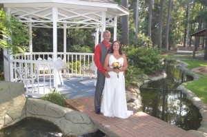 Melissia & Kevin Davis were married in the garden at Wedding Chapel by the Sea.